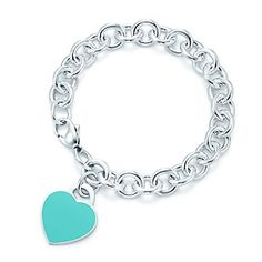Return to Tiffany™ heart tag in silver with enamel finish on a bracelet, medium.