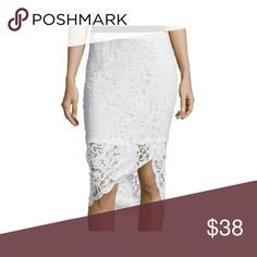 Asymmetrical white lace pencil skirt Cotton, Nylon  RegularLength:Above Knee Bottoms Size (Women's):Pattern:Solid Skirts Asymmetrical