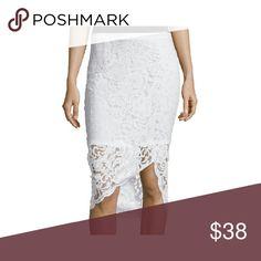 Asymmetrical white lace pencil skirt Cotton, Nylon  RegularLength:Above Knee Bottoms Size (Women's):Pattern:Solid Skirts Asymmetrical
