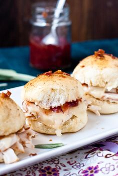 Baked Turkey Sliders with Cranberry & Bacon Chutney and Browned Sage Butter from Confections of a Foodie Bride Thanksgiving Recipes, Holiday Recipes, Great Recipes, Favorite Recipes, Yummy Recipes, Thanksgiving Leftovers, Cranberry Recipes, Thanksgiving Appetizers, Turkey Sliders