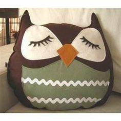 owl pillow scrap material