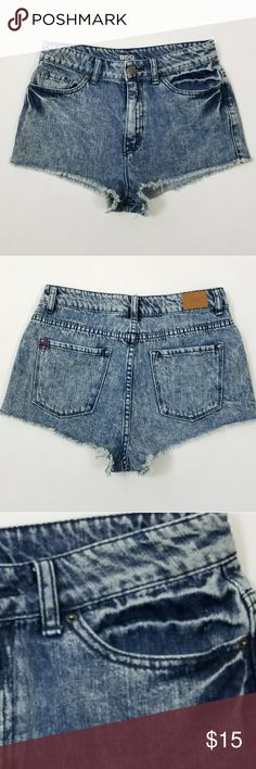 BDG High Rise Dree Cheeky Denim Shorts 29W BDG High Rise Dree Cheeky Shorts. Size  29 Distressed/ bleached look.  Waist: 15 inches laying flat. EUC Urban Outfitters Shorts