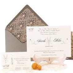 classic wedding invitation in golden and grey invitacin de boda clsica y elegante en gris