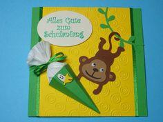 Glückwunschkarten - Glückwunschkarte Einschulung Äffchen m. Schultüte - ein Designerstück von Wonderful-Paper-Art bei DaWanda