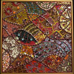 Laurel True: True Mosaics Studio: February 2009  Rajasthan 2009  Copper and gold smalti, glass, mirror, antique cabochons  Copper frame