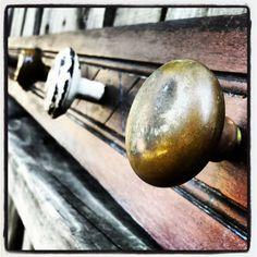 Repurposed coat rack old door knobs vintage by SalvageStLouis, $150.00