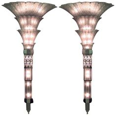 Pair of French Art Deco Glass Sconces by Sabino 1