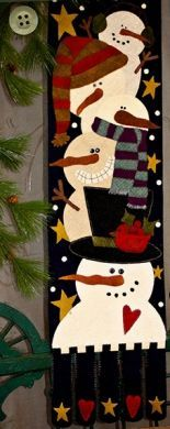 Snow Much Fun: These snowmen are having Snow Much Fun! Pattern includes all instructions for the x wool applique project. Christmas Sewing, Felt Christmas, Christmas Projects, Holiday Crafts, Xmas, Wool Applique Patterns, Felt Applique, Snowman Quilt, Christmas Wall Hangings