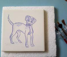 This tile was made by order was intended to be a mix breed dog.  #tileaddiction #tiles #tilework #patterns #patternmaking #vintage #european #etsy #blue #instazulejo #heritage #heritageyoucanwear #azulejomania  #padrão #moisaico #surface #surfacepattern #surfacedesign #tileaddiction #carreauxdeceramique #cerâmica #cerámica #glaze #tilesofinstagram #tilesofportugal #ceramics #baldosa #etsy #etsyfinds#iliketiles #ilovetiles