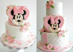 Ideas For Birthday Cupcakes Fondant Girls Minnie Mouse Minni Mouse Cake, Bolo Do Mickey Mouse, Mickey And Minnie Cake, Bolo Minnie, Mickey Cakes, Pink Minnie, Baby Cakes, Girl Cakes, Cupcake Cakes