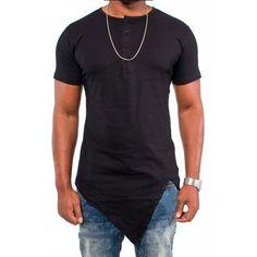f9e512045bc 2017 Irregular Hem Solid Color Mens T-shirt Short Sleeve New Summer Fashion  Hip hop