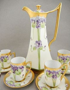 Chocolate Pot Set with hand-painted Violets.