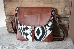 Wool Purse / Handbag/ Messenger in Pendleton Oregon Fabric & leather trim- Navajo look // -- Ready to Ship-- on Etsy, $109.00