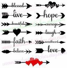Download Dream Hope Love Believe Arrows - Word Art SVG - Tidbits ...