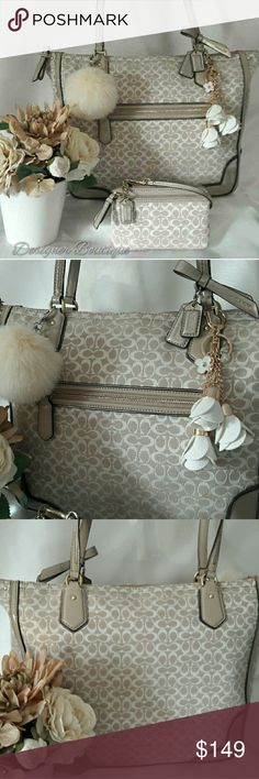 """Coach Signature Outline Poppy Handbag Set COACH SIGNATURE OUTLINE HANDBAG SET NWOT DIMENSIONS:14"""" L x 13.25"""" H x 4"""" D ☆Dual straps with buckled detail with 9"""" drop ☆Signature khaki fabric and patent leather exterior ☆Zippered top closure with leather detail on the zippered pull tab ☆1 front exterior zipper pocket ☆2 Signature Coach leatherhang tags ☆All Gold toned hardware ☆Lavender purplesatin interior lining spotless! ☆2 cell phone multi-function slip pockets ☆1 zippered pocket In…"""