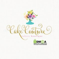 cake stand logo watercolor flower logo by stylemesweetdesign