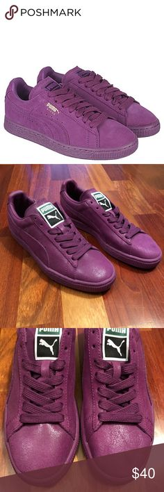 "NWOT Purple Puma Suedes - Size 7 NWOT Purple Puma Suedes - Size 7. BRAND NEW without box. These are a men's size 5.5 which fits a women's size 7. These are marked ""Sample"" so chances these are one-of-a-kind and never produced for the public. One minor flaw: small discoloration on left toe. Actual shoes are second and third pics - first pic just for representation of color. Puma Shoes Sneakers"