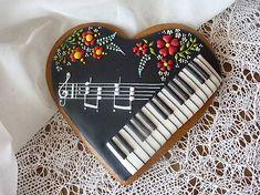 Cookie Frosting, Royal Icing Cookies, Cupcake Cookies, Sugar Cookies, Cupcakes, Bolo Musical, Music Cookies, Iced Biscuits, Fancy Cookies