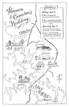 beautiful wedding map - love the illustrative style!