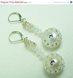 20% Off Elegant Earrings  White/Silver Beadwork by BohemianIce, $20.00  #beadwork #jewelry #handmade