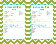 Green cute printable school notes if your little on is going to be absent or tardy.  Has pretty much everything you could possibly need to say in a note to the teacher.