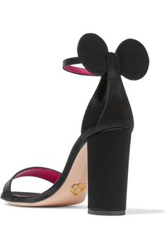 Aptly named 'Minnie', Oscar Tiye's sandals are crafted with circular appliqués to resemble everyone's most favorite cartoon mouse. This sleek pair has been made in Italy from lustrous black satin, with a comfortable block heel and cushioned insole. Wear them with day or evening looks.