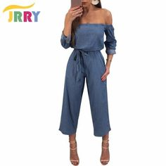 76ee258e8e97 JRRY New Casual Slash Neck Loose Denim Women Jumpsuit Buttons Sashes Wide  Leg Ankle Length Pants