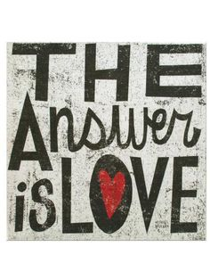 "Enlighten your space with this charming The Answer is Love Canvas Wrapped Wall Art featuring a fun print that says ""The Answer is Love"" with a red heart inside the ""O"" in love on a canvas that is wrap"