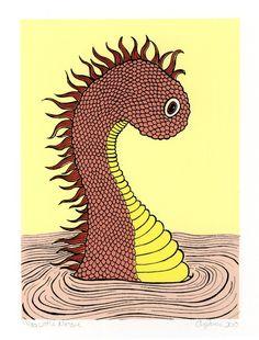 Baby Sea Monster by Amanda James, printsbyamandajames, Portland, OR