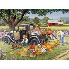Bits and Pieces 1000 Piece Jigsaw Puzzle for Adults Home Grown 1000 pc Fall on the Farm Jigsaw by Artist John Sloane * Find out more about the great product at the image link. (This is an affiliate link) Jigsaw Puzzle Store, 1000 Piece Jigsaw Puzzles, Carl Larsson, Farm Art, Country Scenes, Country Art, Country Life, Country Roads, Old Barns