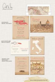 Tuscany Florence Italy Wedding Invitation Suite - European wedding - Deposit Payment