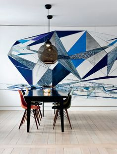 Dining Room with mural wall in Denmark home #blue