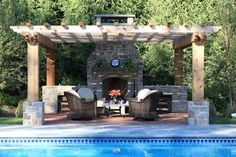#Patio and #pool w/#fireplace and #pergola http://www.houzz.com/photos/820140/Poolside-Fireplace--patio-and-pergola-traditional-patio-new-york
