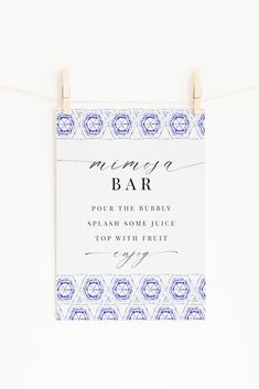 Mimosa Bar Sign | Summer or Spring Shower | Festival or French inspired | Blue Tiles | Brunch & Bubbly | Brunch Shower Mimosa Bar Sign, Summer Bridal Showers, Spring Shower, Blue Tiles, Bar Signs, Custom Posters, Bubbles, Brunch, Place Card Holders