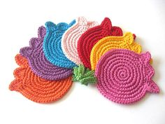 Mix Colors Tulips Crochet Coasters . Beverage Drink Original Decor Crochet Spring Garden Collection - Set of 6 - Made to Order. $32.00, via Etsy.