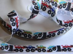 """Monster Trucks Grosgrain Ribbon 5 yards of 7/8"""" White with Truck Print for Boys Monster Truck Themed Birthday Party Favor Ties Boys Crafts by HouseofHairDecor on Etsy"""