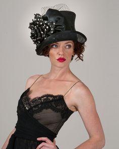 Kelly, black with polka dots, parisisal crown & sinamay brim hat with silk cabbage rose, ribbon & veiling