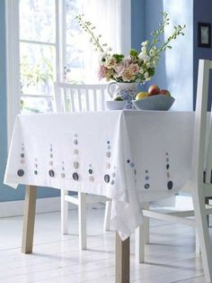 Button tablecloth - simple craft project Clever! O'Quilty & The Vintage Sue wants to try this. Could use new fabric or a vintage tablecloth.