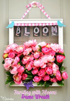An old frame gets a fresh coat of white paint to create this Bursting with Blooms Door Wreath!
