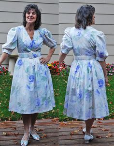 Vintage cotton 80s dress belted waist attached by YustaWas on Etsy, $24.00