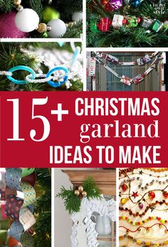 Christmas decorating ideas. 15+ Christmas garlands to make for Christmas trees, windows, mantels and more | In My Own Style