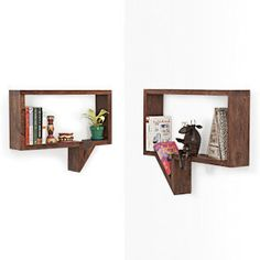 Quote-Unquote Wall Shelves (Set of 2) (Mahogany Finish)