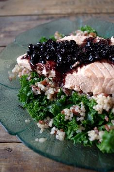 Simple Broth Poached Salmon with Blueberry Balsamic Reduction