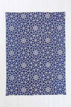 Tapis bleu et blanc motif étoile 5x7