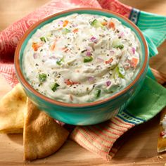 Mediterranean Dip: Simply amazing with fresh vegetables, toasted pita bread and skewered chicken. #party #dip #recipe