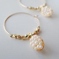 k14gf パールパヴェのフープピアス | Holiday jewelry