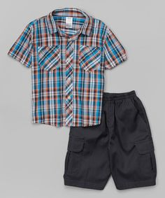 This Orange Paid Button-Up & Cargo Shorts - Infant, Toddler & Boys is perfect! #zulilyfinds