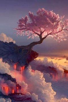 Japan - Cherry blossom tree at the Fuji volcano  -