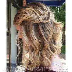 Balayage hair color. Braids. Fishtail braids. Summer updo. Blonde highlights. #hairbyjamiemillmather