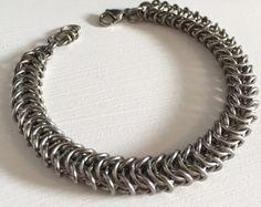 Mens Stainless Steel Bracelet, Steel Chainmaille Jewelry, Box Chain Bracelet, Bike Chain Bracelet, Box Weave Steel Bracelet, Gift for Men